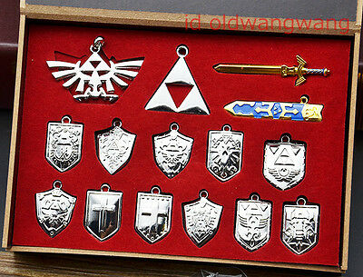 The Legend of Zelda Cosplay Sword Shield Necklace Pendant Keychain Ring Gift Box