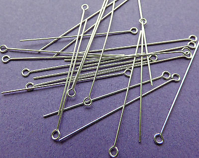38mm length 24 gauge 0.60mm thickness 925 Sterling Silver Eye Pins 24pcs