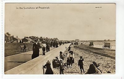 IN THE SUNSHINE AT PRESTWICK: Ayrshire postcard (C17027)