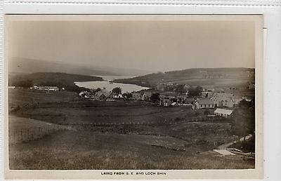 LAIRG FROM S. E. AND LOCH SHIN: Sutherland postcard (C16396)