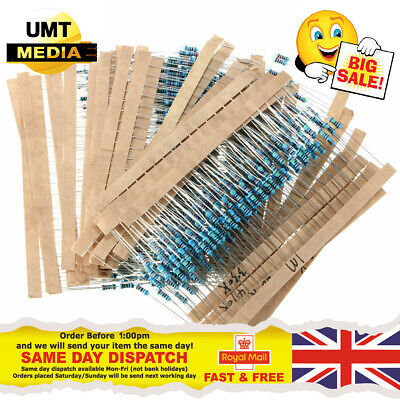 Assorted Resistors - 1/4W Watt 0.25 Metal Film Kit Set Pack Arduino PI - 600PCS
