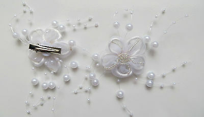 1 Bridesmaids,Flower White Bead Corsage Hair Clips Fascinator Hairband and Pin
