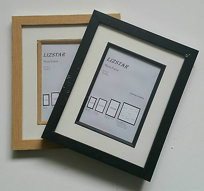 Black/Oak Double Plated Photo Frame with Black/White Mount Wood Effect For Stand