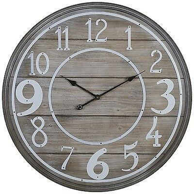 LARGE ROUND VINTAGE ANTIQUE STYLE BROWN HARMONY AND BALANCE WALL CLOCK - 80cm