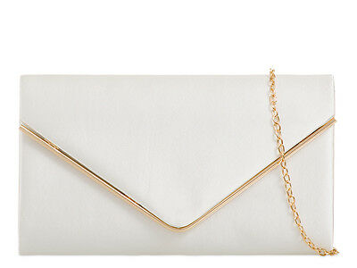 Ivory Satin Ladies Lace Evening Clutch Handbag Party Prom Wedding Bag 41074-6
