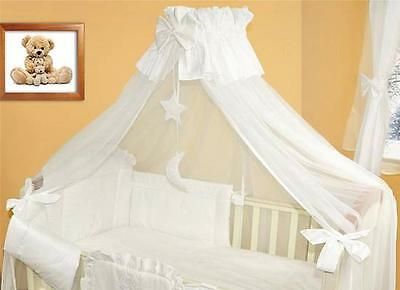 LUXURY CANOPY + HOLDER 480cm WIDTH FIT BABY COT /COTBED - Cover 4 sides WHITE/M