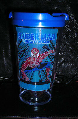 Rare Spiderman Turn Off The Dark Drink Cup Broadway Sippy Souvenir New Unused