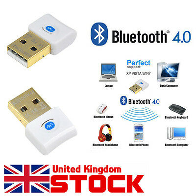 Bluetooth Version V4.0 USB Dongle Wireless Adapter for PC Windows 8 10 XP UK
