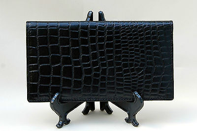 Mohawk Black Finely Crafted  Leather Crocodile Embossed Checkbook