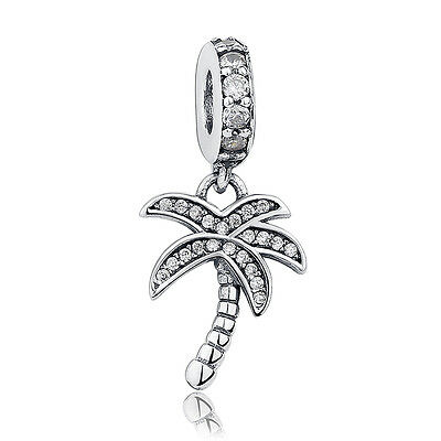925 Sterling Silver Sparkling Palm Tree w Clear CZ Dangle Charm
