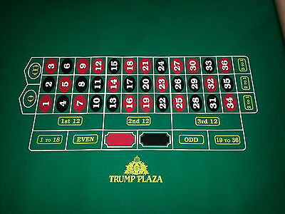 Authentic TRUMP PLAZA Roulette Layout, 0-00 Casino Quality BRAND NEW