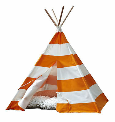 Kids Cotton Canvas Teepee Playhouse Tent - Orange