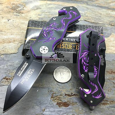 "3.5"" TAC-FORCE Dragon Purple Small Outdoor Hunting Rescue Pocket Knife"