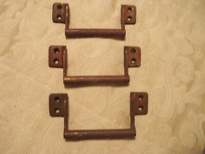 "Pair Old  Heavy Unpolished Solid Brass Bin / Drawer Pulls, 4"" Mounts, Free S/H"