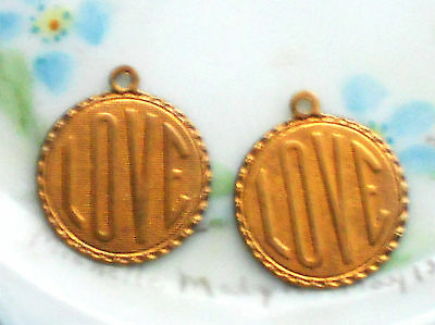 Vintage Love Charms,brass ART DECO Engraved Valentines Day #1250K