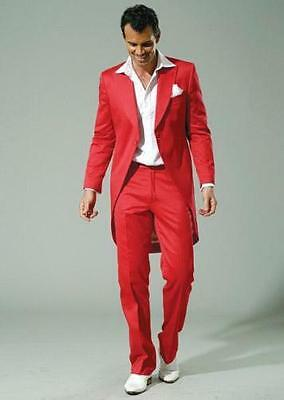 2016 Long Mens Wedding Suits Groom Tuxedos Red Tailcoats Jacket+Pants Tailored