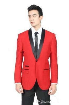 Red Jacket Black Pants Mens Wedding Suits Groom Tuxedos Formal Business Suits
