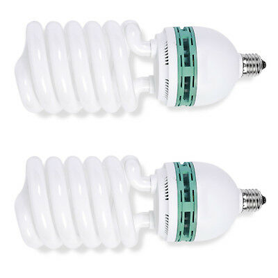 Phot-R 2x Helix Spiral 200W 220V-240V E27 5500K Photo Studio Daylight Bulb Light