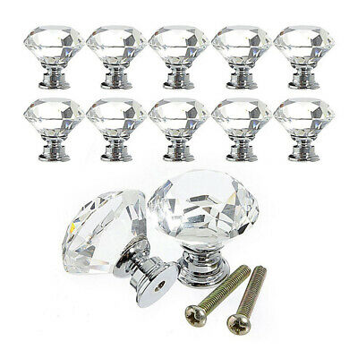 12pcs 30mm Glass Diamond Crystal Dresser Knobs Drawer Pull Handle Cabinet Door