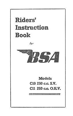 1948 BSA C10 C11 instruction book