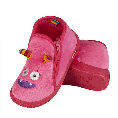 Junior Girls Plush Fleece Pink Monster Zip Boot Slippers Sizes 8-9, 9-10, 11-12