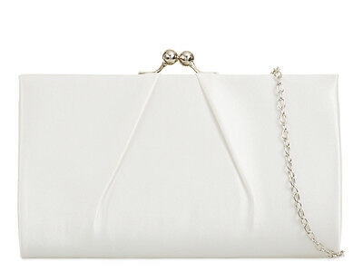 Ivory Satin Ladies Women Evening Clutch Handbag Party Prom Wedding Purse L761