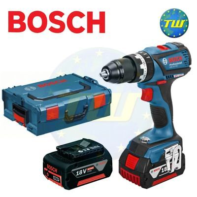 Bosch GSB18V-EC 18V BRUSHLESS Combi Drill with Metal Chuck & 2x 4.0Ah Batteries