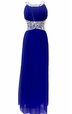 Blue Maxi Dress Gem Embellished Bridesmaid Party Prom Draped Gown SIZE 8-24