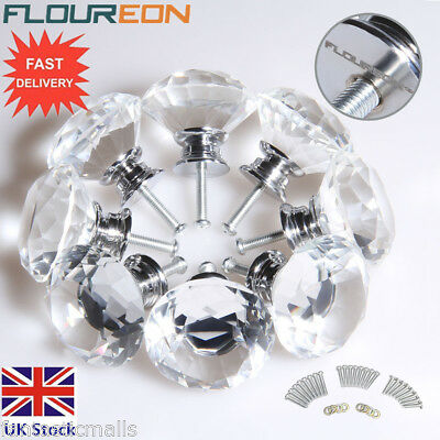 8Pcs 40mm Crystal Diamond Glass Pull Handle Door Knob Drawer Cupboard Cabinet