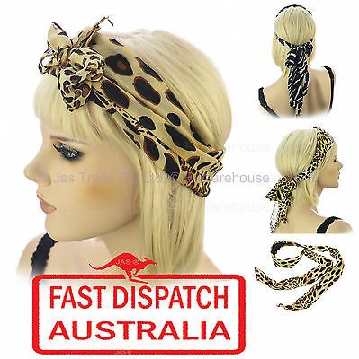 Animal Skin Leopard Print Hair Head Wrap Band Costume Turban Scarf Headband