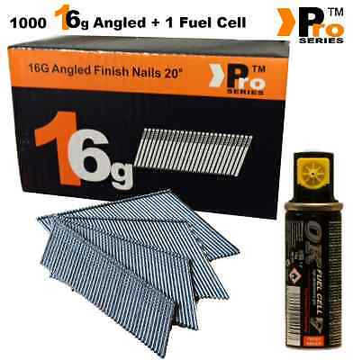 Paslode Hitachi Bostitch 1000 x16G Second Fix Nails (Angled)+ 1 Fuel Cells  00