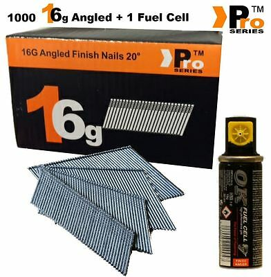 Paslode Hitachi Bostitch 1000 x16G Second Fix Nails (Angled)+ 1 Fuel Cells  001