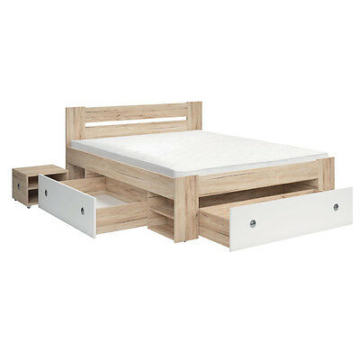 New Brand Wood Effect King Size Bed | Bed with 3 Drawers & Nightstands STEFAN