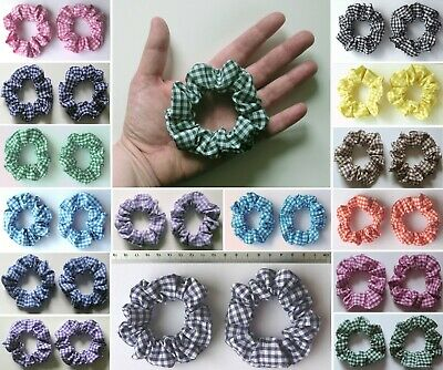 2 x SMALL GINGHAM SCRUNCHIES (child / thin hair) - SMALL CHECK