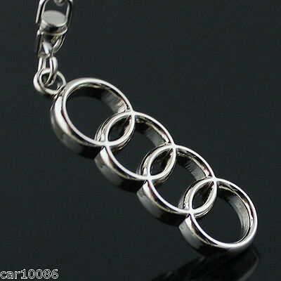 3D Chrome Metal Double Side LOGO Car key Chain keyring for Audi Free Shipping
