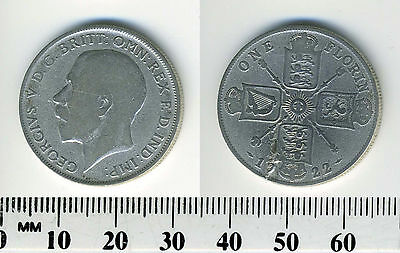 Great Britain 1922 - 1 Florin Silver Coin - King George V - Planchet error