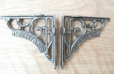 "5"" PAIR of J DUCKETT antique Vintage cast iron shelf bracket Sink Toilet Cistern"
