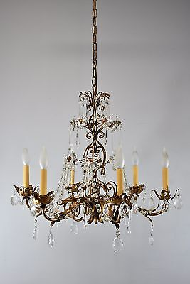 French Style Antique Six Arm Crystal and Bronze Tone Chandelier