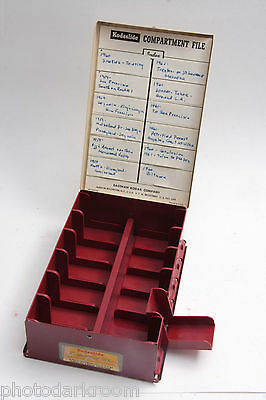 """Kodaslide Compartment File - Red 12-Slot Box for 2x2"""" Mounted Slides - USED J13F"""