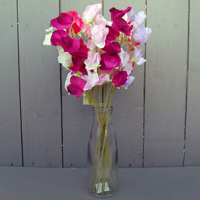 12 x Artificial Mixed Sweet Pea Flowers in Vase