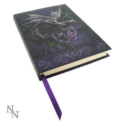 Hard Cover Journal by Designer Anne Stokes Purple Rose and Ancient Dragon Love
