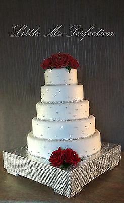 Crystal Diamante Silver Gold  Sparkly Wedding Cake Stand Party Table Display