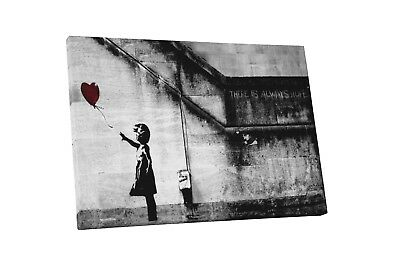 Banksy Girl With Balloon Gallery Wrapped Canvas Print. BONUS BANKSY WALL DECAL!