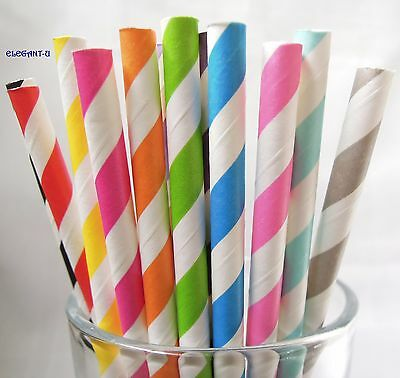 ~25 x Paper Drinking Straws Straw Retro Vintage Striped Wedding Party Birthday~