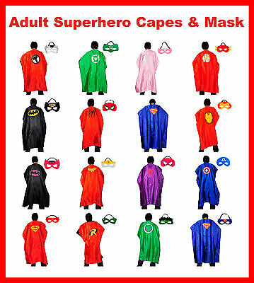 NEW! Adult Superhero Cape & Mask Set Super Hero Costume Party Batman Superman