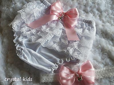 Baby Girls Reborn Princess Pink White Frilly Lacy Pants & Headband 3 Sizes