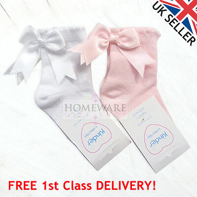 Girls Kids Ankle Socks Spanish Bow Socks Scallop Trim Pink White Sizes 0-6 Years