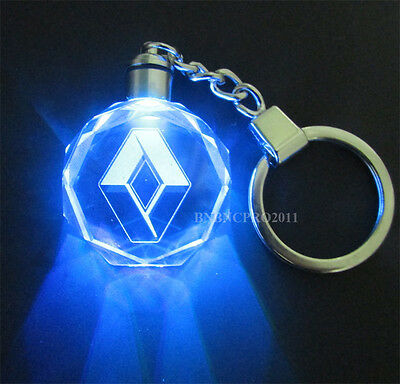 Car Logo LED night Light color changing crystal Key Chain Keychain For Renault
