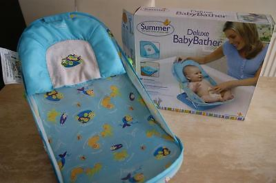 used summer deluxe baby bather seat support blue bath