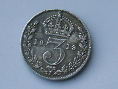 1913 Great Britain 3 Pence Foreign World Coin .925 Silver ( Vf , My Opinion )